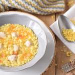 Quadretti all'uovo con polpettine di pollo